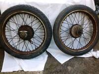 Motorcycle font and rear wheels for BSA Bantam