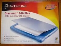 Packard Bell Diamond 1200 Plus 48-bit true color USB scanner / New