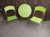 Chairs 2 x Metal and round Foldable Table garden furniture Delivery Available