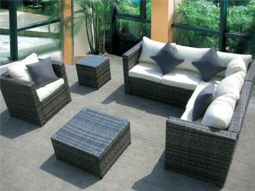 Garden Furniture - NEW RATTAN GARDEN WICKER OUTDOOR CONSERVATORY CORNER SOFA FURNITURE SET