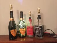 2 x Jack Daniels table lamps 1 x prosecco table lamp and 1 x prosecco LED multifunction lamp