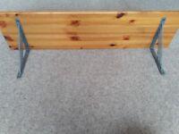 Pine shelf with brackets. 3ft long. Immaculate.
