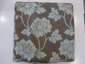 Floral patterned cushion covers x 2 (turquoise/brown)