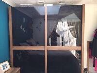 Black glass front double wardrobe
