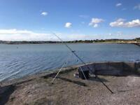 Sea fishing setup including 2 x Daiwa 7ht reels, two rods, tackle, seat boxes