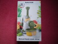 Fruit or vegetable juicer. Salter Hand Crank Juicer. Unused, boxed, totally complete, with manual.