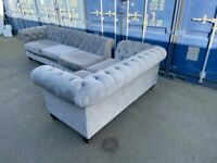 Plush grey Chesterfield L shaped sofa