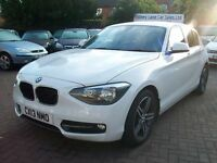 BMW 1 Series 2.0 118d Sport 5dr 2013 (13 reg), Hatchback, WHITE, DIESEL, ONE OWNER FROM NEW