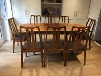 Original Nathan dining table and 8 chairs