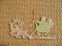 Pearlescent Pink White Green Santa Claus & Reindeer Christmas Tree Decoration Xmas Tree Ornament