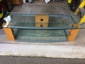 EX JOHN LEWIS TV / STEREO STAND IN WOOD AND GLASS
