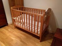 Mothercare Darlington cot and high quality spring mattress