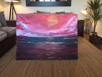 "Large original oil painted canvas "" Sunset on the Sea"" picture"