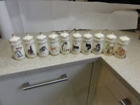 Collectable Bone China Spice Jars By Olga Steblin Set of 10 jars in mint Condition See pics
