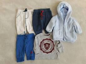 0-3 months boys trousers cardigan bundle