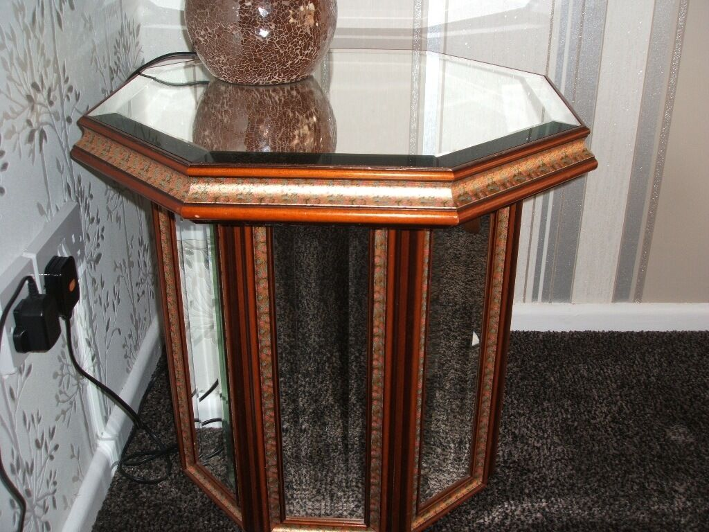 Coffee table or occasional table hexagonal with mirrored top and sides. Reasonable condition. 55cm a