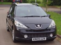 Peugeot 207SW 1.6HDi, Black, excellent condition, low mileage, new MOT oil change and tyres.