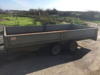 Twin axle flatbed trailer 14ft x 6.6ft