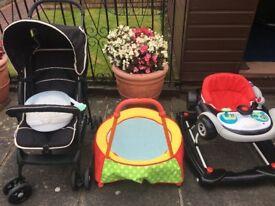 Baby pushchair, trampoline & walker