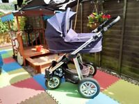 Pram 3 in 1 travel system Buggy Pushchair car seat and carry cot Baby Design