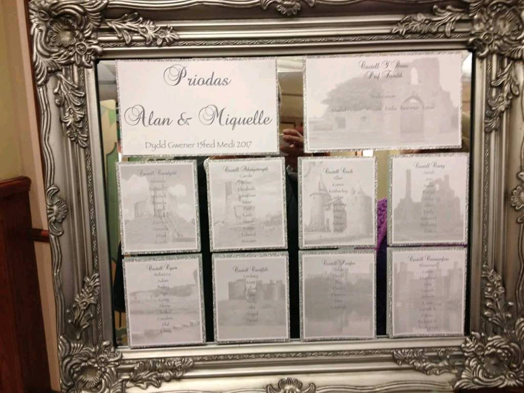 Vintage/Antique style mirror - Used for wedding table plan