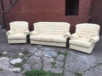 LEATHER CHESTERFIELD SUITE 3 SEATER AND 2 CHAIRS CREAM / BEIGE LEATHER REAL LEATHER CAN DELIVER