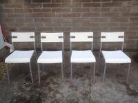 Ikea White Plastic Modern Dining Chairs x 4