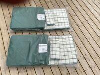 Two Unused Green B&Q Canterbury Steamer Chair Cushions