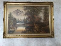 Original Oil Painting by M Burton titled Autumn Tree and River Scene.