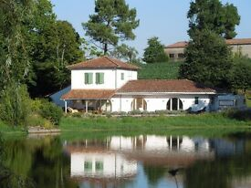 SW France - modern, light & airy 4-bed family home beside a lake near Nogaro, Gers
