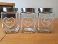 3 x 'Love' glass storage jars canisters Tea Coffee Sugar