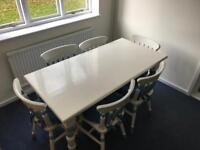 Solid wooden table with 6 chairs - vintage project