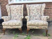 PAIR ENGLISH ARMCHAIRS VINTAGE FREE DELIVERY LDN🇬🇧CHAIRS