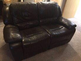 Brown 2 Seater Reclining Sofa Genuine Leather
