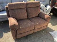 Ex-display**Lovely Brown fabric reclining 2 seater sofa