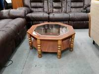 Retro Octagonal Coffee Table. Glass Top.