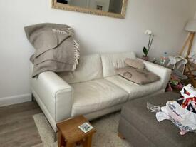 White 3 seater leather sofa