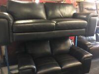 NEW/EX DISPLAY John Lewis BLACK LEATHER SYCAMORE 3 SEATER SOFA, SUITE, SETTES 70% Off RRP
