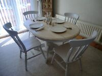 Oval Ended Table with 4 Chairs - Shabby Chic