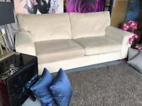 New Furniture Village Fifth Avenue Large 3 Seater Sofa In Plain Velvet Platinum Stone