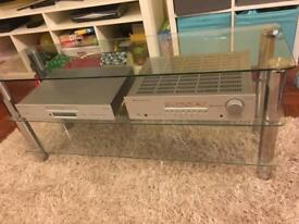 Glass and chrome tv stereo stand unit