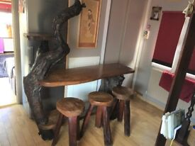 Teak and Root Wood Table and matching stools