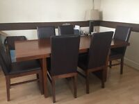 Real Wood Dining Table and 6 Faux Leather Chairs
