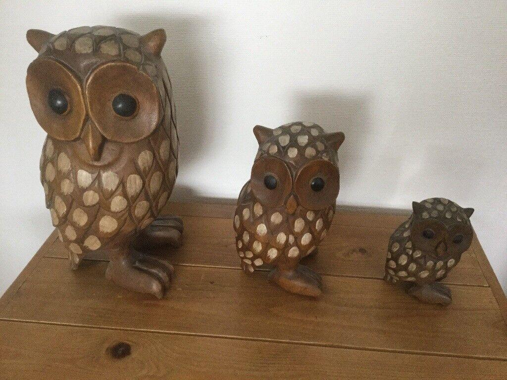 Three stunning sold wood owls