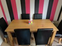 Six seater extendable dining table & chairs