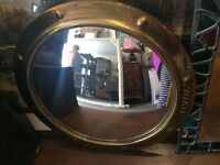Appealing Rare Antique Convex Glass Round Mirror with Decorative Embellished Gilt Frame