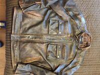 Harley Davidson Brown Leather Bikers Jacket (XL)