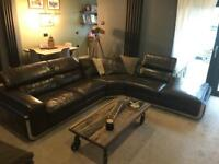 Corner leather sofa suite Texas oak