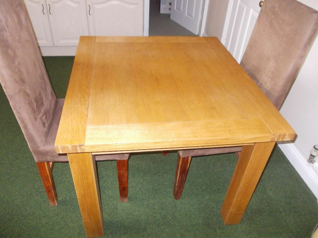 Lovely Solid Real Oak Dining Table And Two High Back Suede Chairs In Wigsto