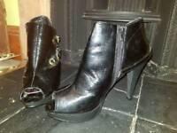 Black stiletto ankle boots heels size 7